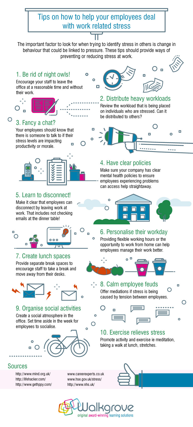 Prevent workplace stress infographic